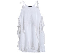 Broderie anglaise-paneled cotton mini dress