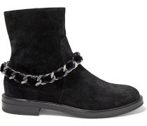 Woman Chain-embellished Suede Ankle Boots Black
