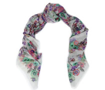 Floral-print cashmere and silk-blend gauze scarf