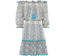 Off-the-shoulder Printed Silk Crepe De Chine Mini Dress Multicolor