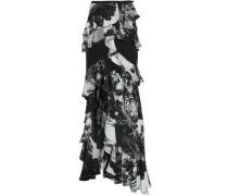 Ruffled printed silk crepe de chine skirt