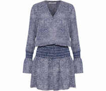 Shirred Printed Silk Mini Dress Navy Size 0