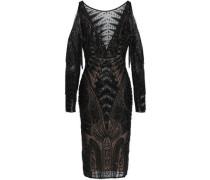 Cold-shoulder embellished silk-blend tulle dress