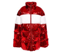 Metallic Quilted Shell Down Jacket Red