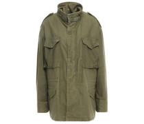 Oversized Appliquéd Cotton-blend Jacket Army Green
