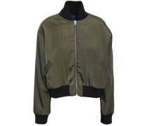Reversible Cropped Embroidered Shell Bomber Jacket Army Green