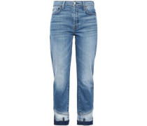 Faded mid-rise straight-leg jeans