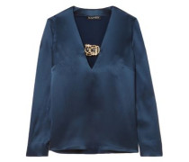 Cristina Embellished Satin Top Storm Blue