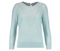 Metallic cotton-blend jacquard sweater