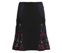 Paneled metallic stretch-ponte skirt