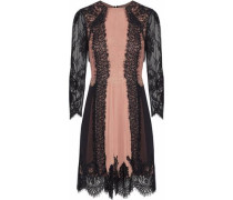 Kaylen paneled georgette and corded lace mini dress