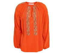 Gathered Embroidered Silk Blouse Orange