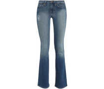 Distressed low-rise bootcut jeans