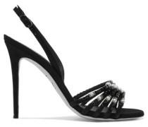 Embellished suede slingback sandals