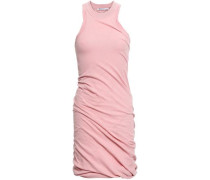 Ruched Cotton-jersey Mini Dress Baby Pink