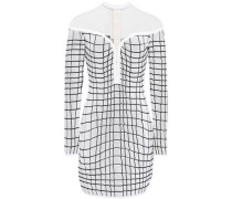 Woman Tulle-paneled Checked Knitted Mini Dress White