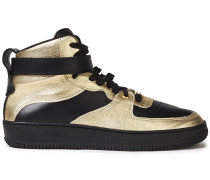 Woman Glam Slam Smooth And Metallic Leather High-top Sneakers Gold