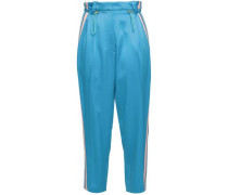 Cropped Striped Satin-crepe Track Pants Azure