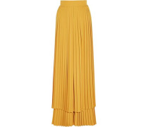 Layered pleated crepe wide-leg pants