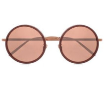 Round-frame Rose Gold-tone Mirrored Sunglasses Rose Gold Size --