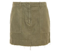 Frayed Denim Mini Skirt Army Green