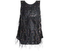 Sequin, bead and feather-embellished tulle top