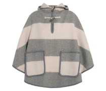 Striped wool-blend twill hooded cape