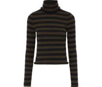 Striped wool-blend turtleneck top