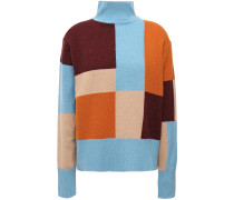 Woman Color-block Wool Turtleneck Sweater Multicolor