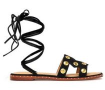 Fiou Cutout Studded Suede Sandals Black