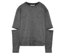 Zip-detailed Cutout Lurex Sweater Gunmetal