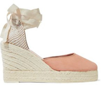 Lace-up suede platform wedge espadrilles