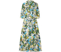 Kasia Floral-print Cotton-poplin Midi Shirt Dress Leaf Green
