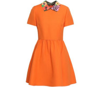 Leather-trimmed Gathered Wool And Silk-blend Mini Dress Orange