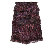 Gerill Ruffled Printed Georgette Mini Skirt Black