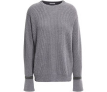 Bead-embellished Ribbed Cashmere Sweater Gray