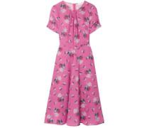 Woman Tuesday Floral-print Silk Crepe De Chine Dress Pink