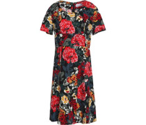 Fluted floral-print crepe mini dress
