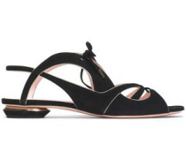 Metallic leather-trimmed suede sandals