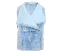 Reversible Shearling Vest Sky Blue