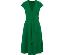 Woman Belted Wool-blend Crepe Dress Green