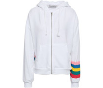 Striped Cotton-blend Terry Hooded Jacket White
