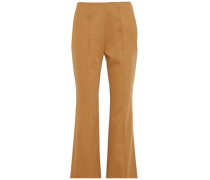 Cropped cotton-twill flared pants