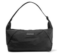Faux leather-trimmed printed shell bag