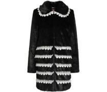 Lace-trimmed Faux Fur Coat Black Size 12