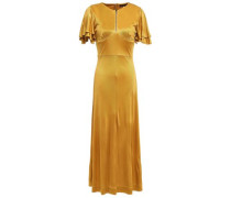 Ruffled Satin-jersey Midi Dress Mustard
