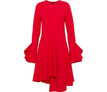 Asymmetric ruffled cotton-jersey dress