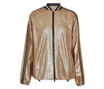 Metallic coated suede bomber jacket