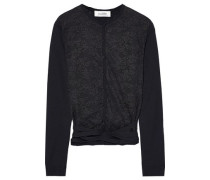 Lace-paneled Wool Cardigan Black