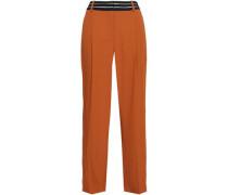 Striped Twill Straight-leg Pants Tan